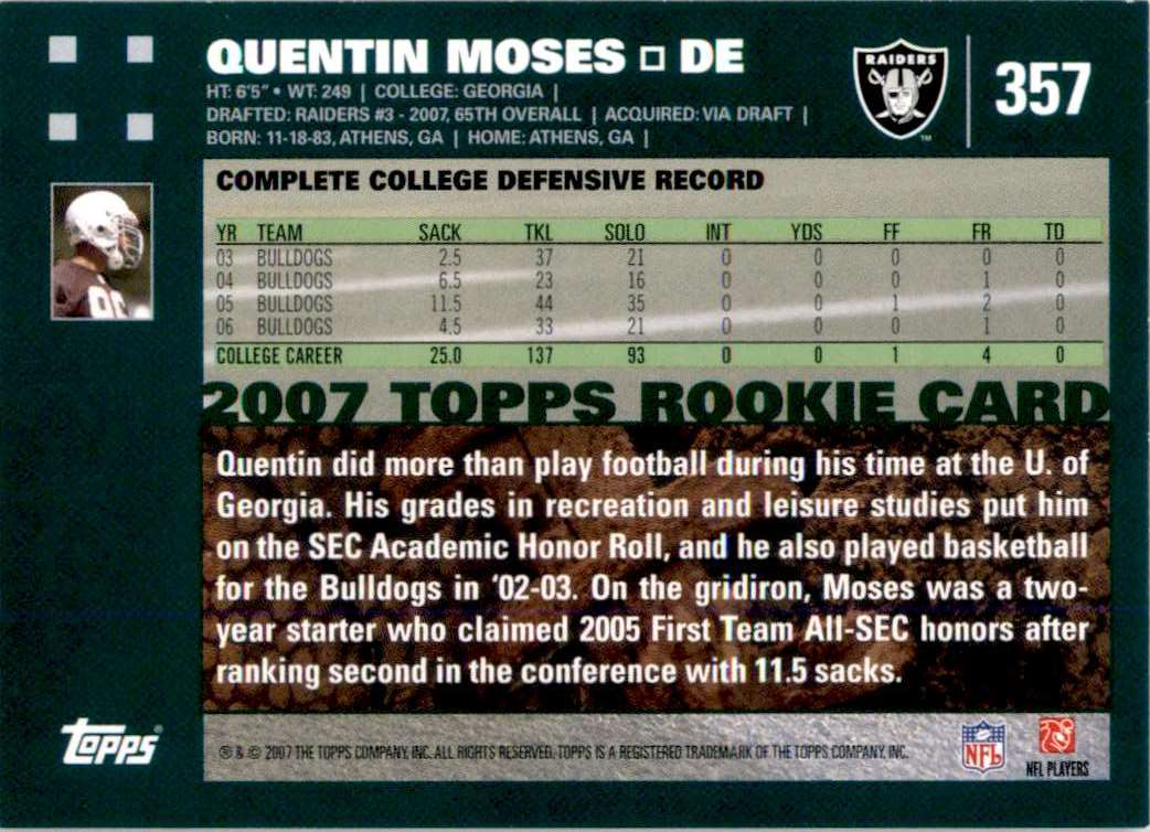 2007 Topps Quentin Moses RC #357 card back image