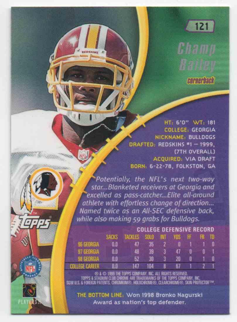 1999 Stadium Club Chrome Champ Bailey #121 card back image