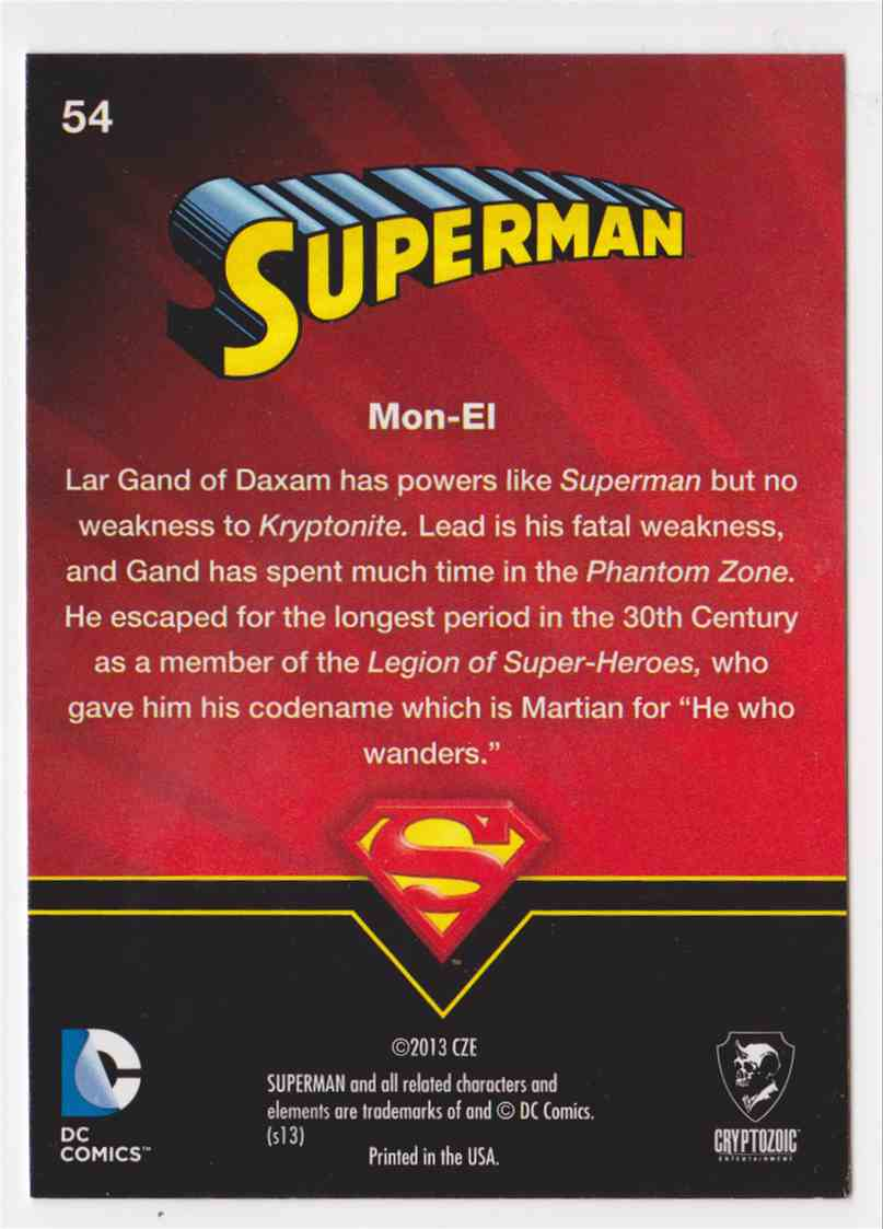 2013 Superman Cryptozoic Superman #54 card back image