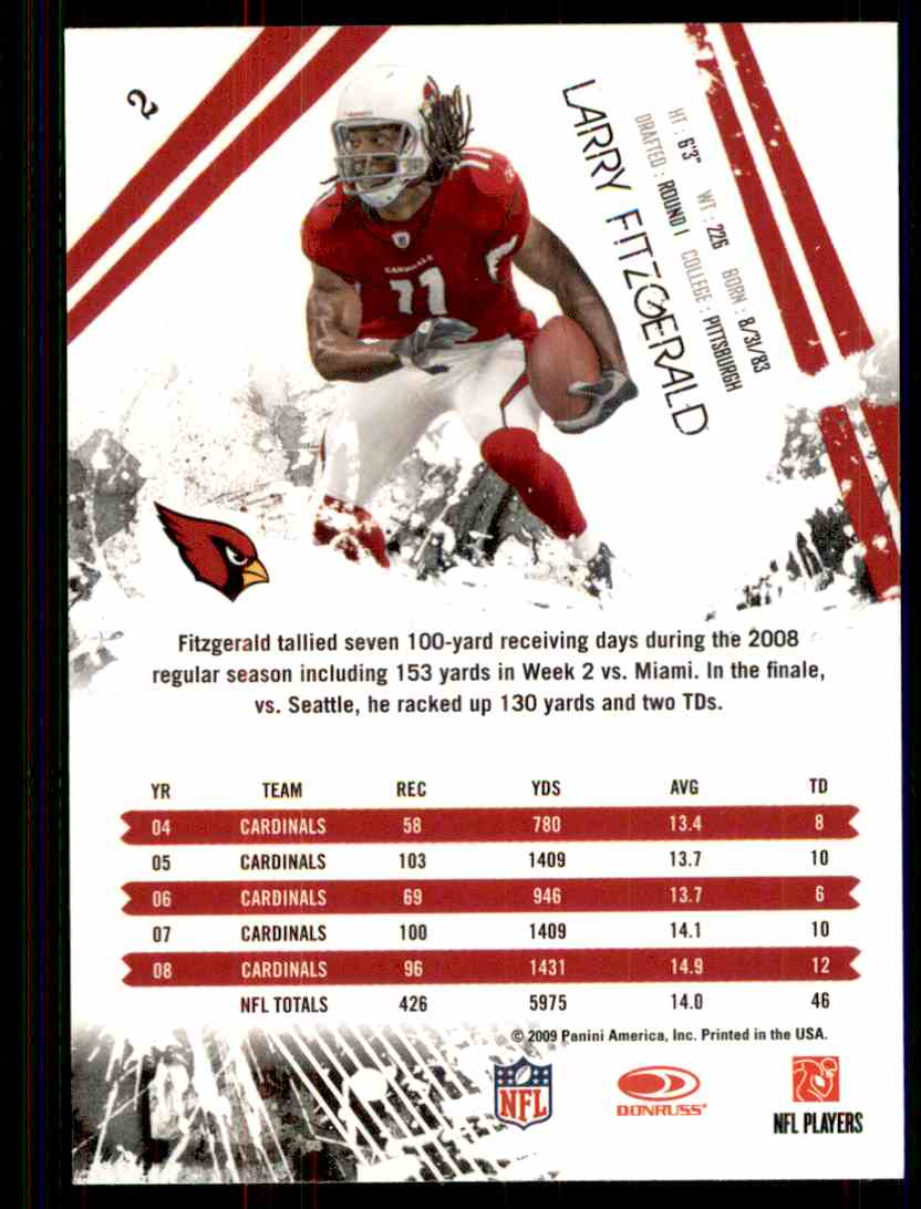 2009 Rookies & Stars Larry Fitzgerald #2 card back image