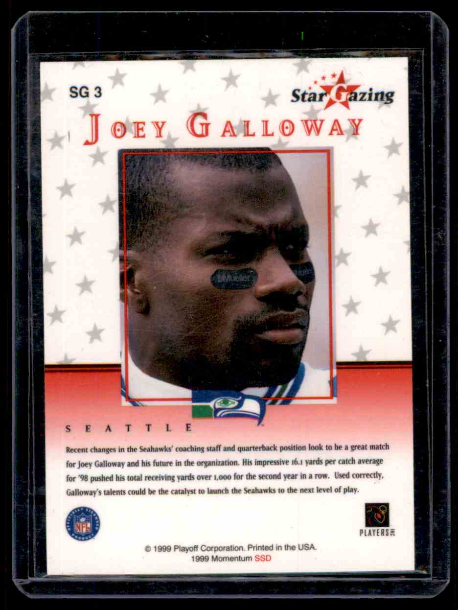 1999 Playoff Momentum Ssd Star Gazing Autograph Joey Galloway #SG3 card back image