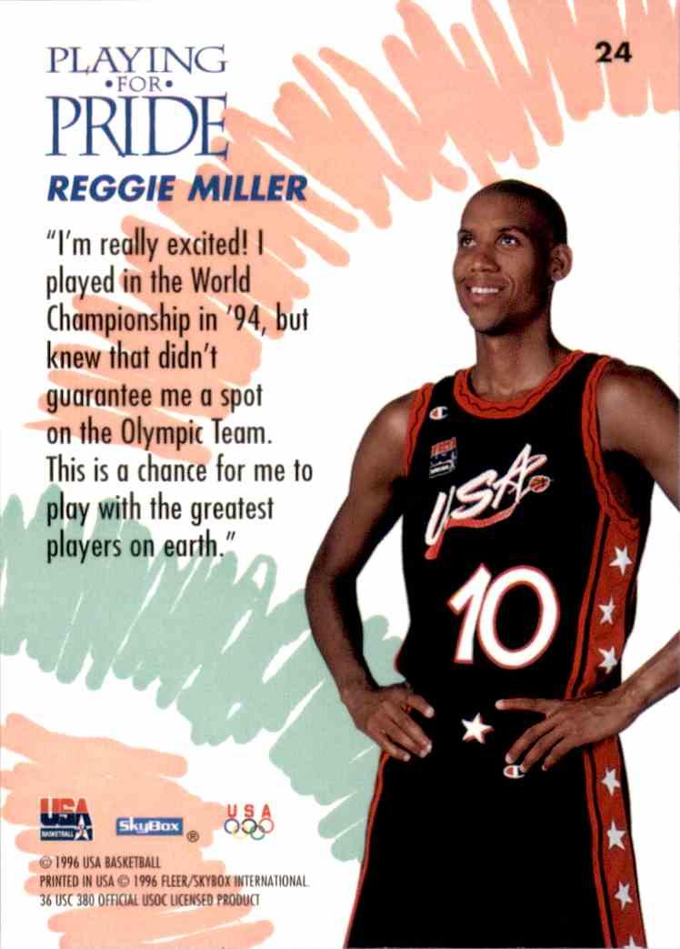 1996-97 SkyBox USA Reggie Miller #24 card back image