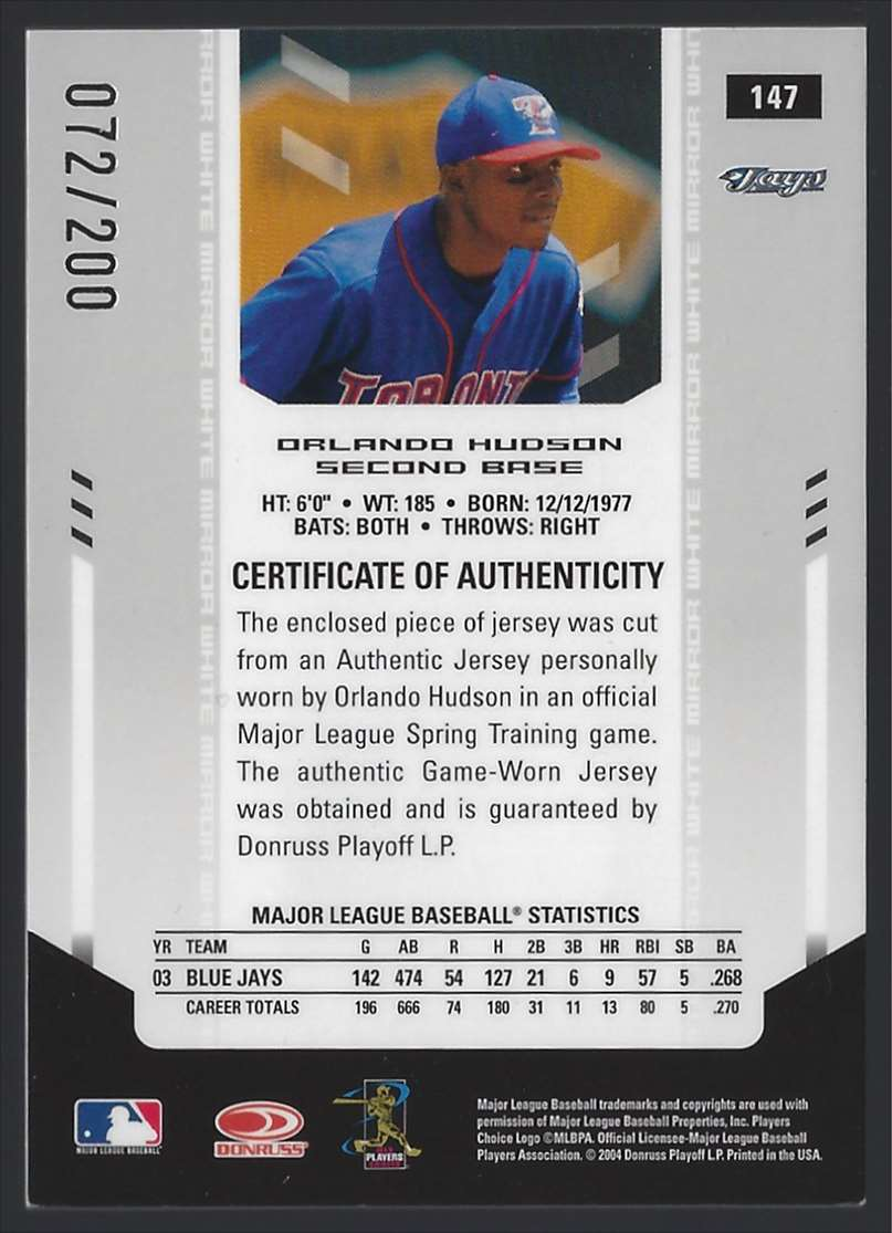 2004 Leaf Certified Materials Mirror Fabric White Orlando Hudson #147 card back image