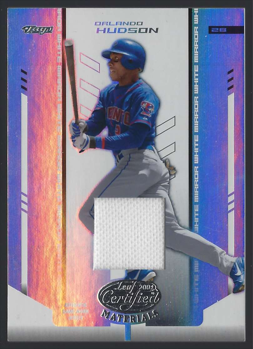 2004 Leaf Certified Materials Mirror Fabric White Orlando Hudson #147 card front image