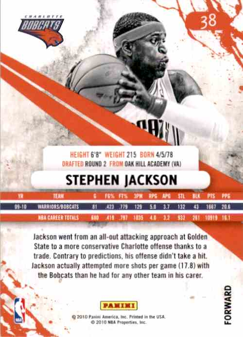 2010-11 Rookies And Stars Stephen Jackson #38 card back image