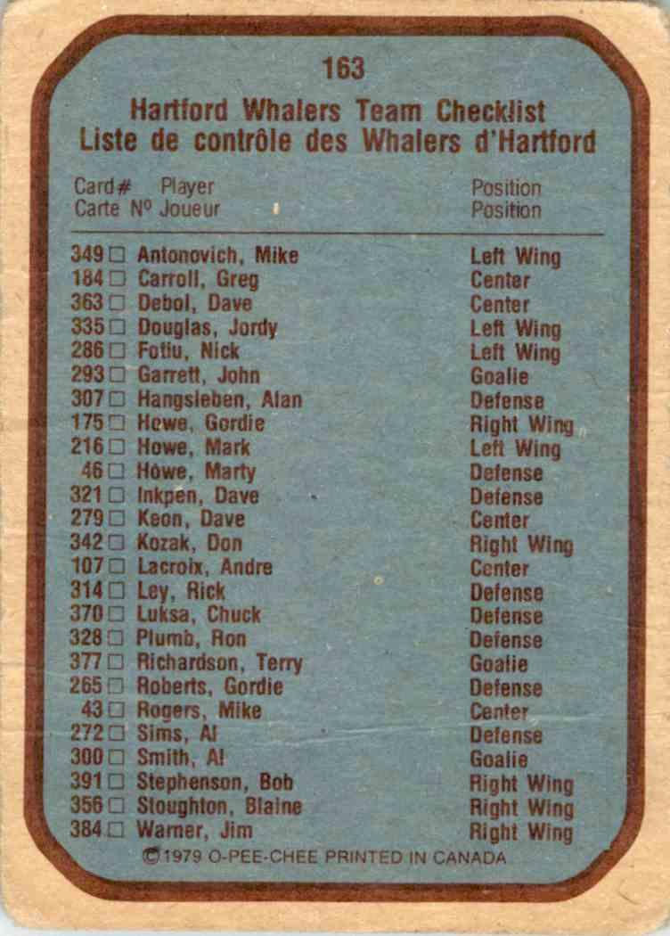 1979-80 O-Pee-Chee Whalers Logo Checklist #163 card back image