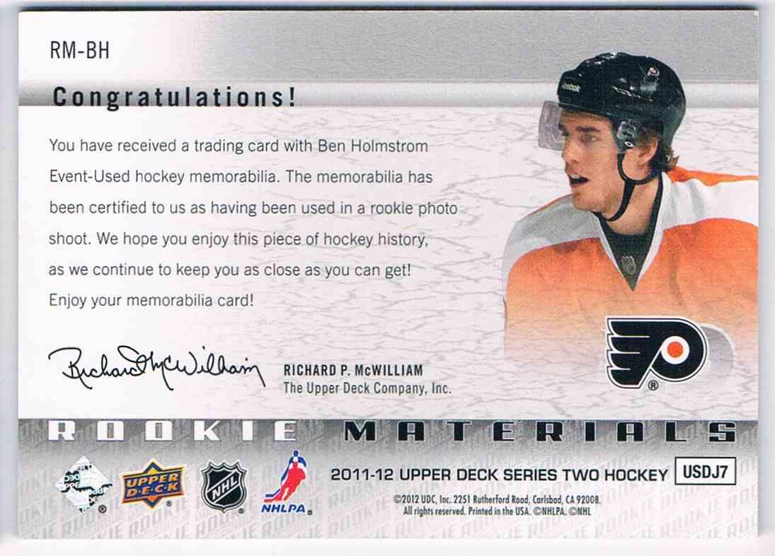 2011-12 Upper Deck Rookie Materials Ben Holmstrom #RM-BH card back image