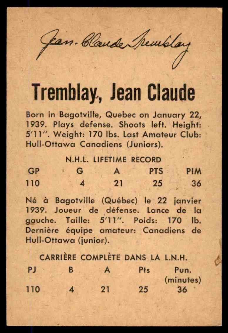 1962-63 Parkhurst Jean Claude Tremblay #54 card back image