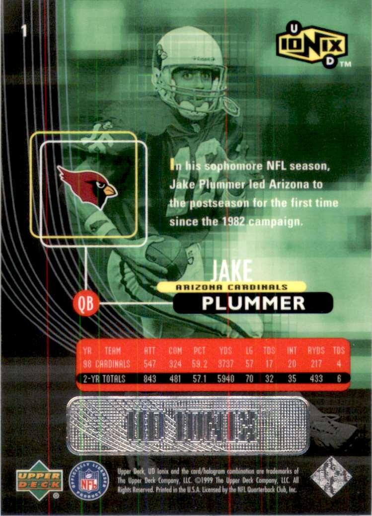 1999 UD Ionix Jake Plummer #1 card back image