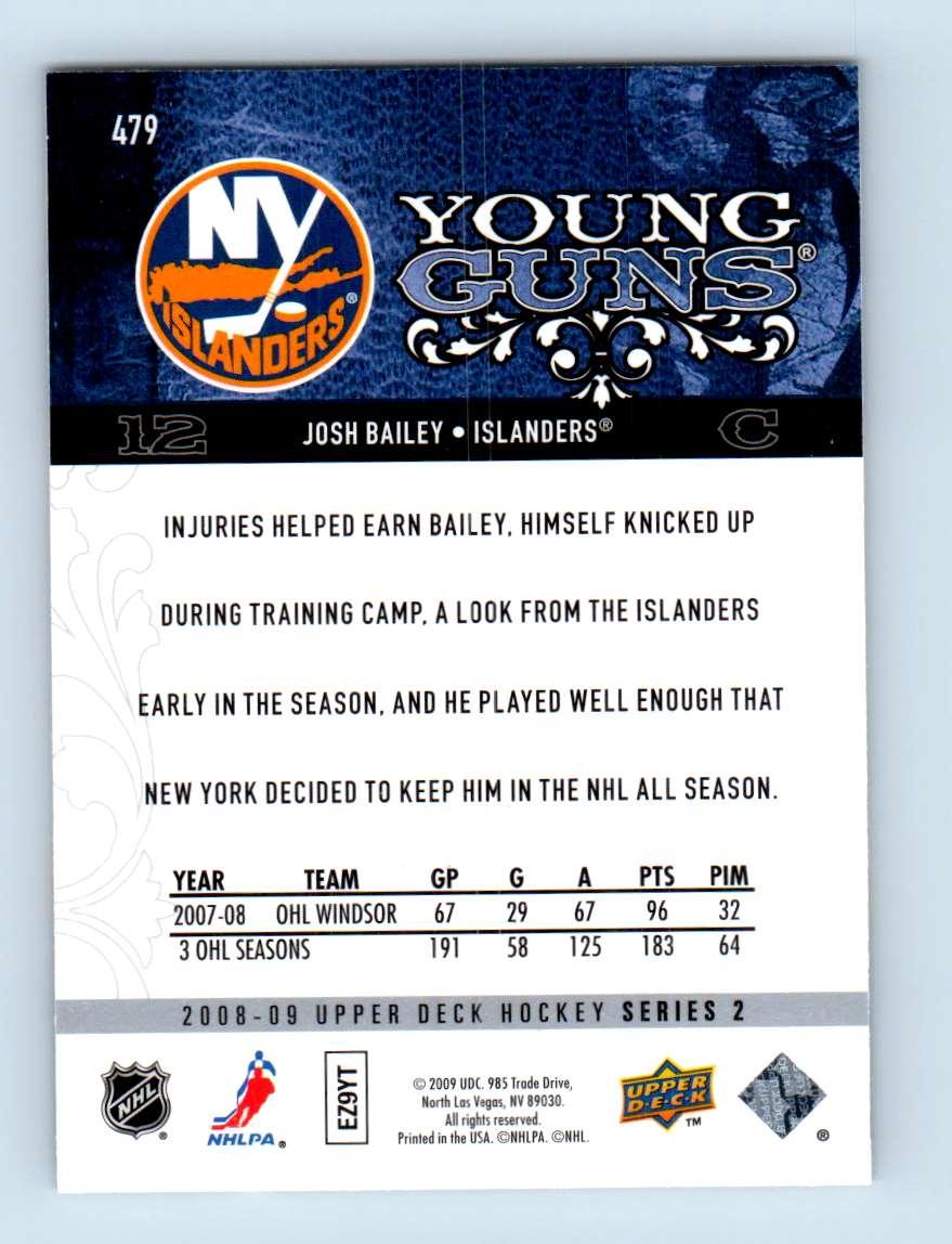 2008-09 Upper Deck Young Guns Josh Bailey #479 card back image