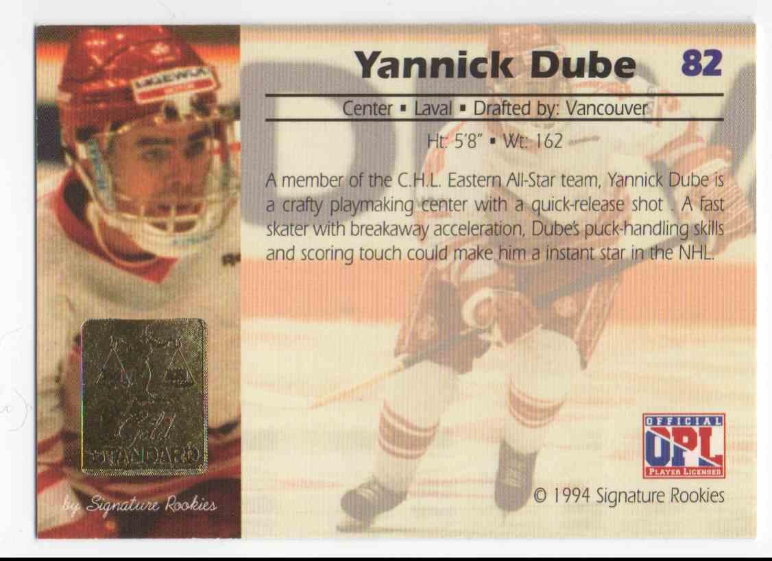 1994-95 Signature Rookies Gold Standard Yannick Dube #82 card back image