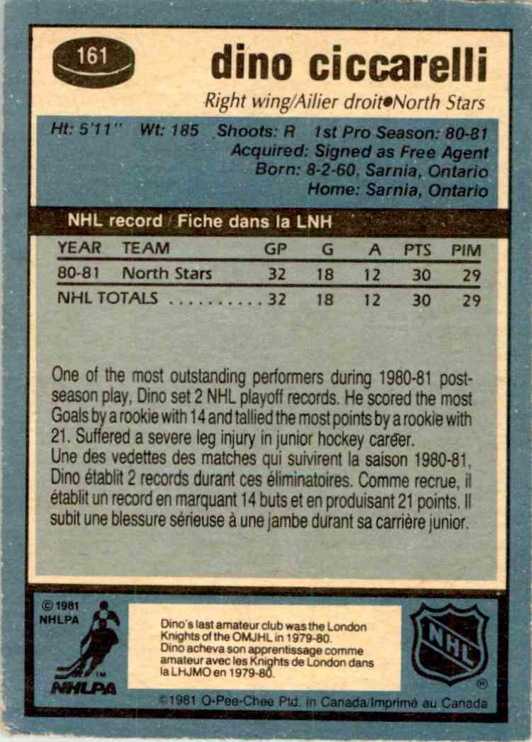 1981-82 O-Pee-Chee Dino Ciccarelli #161 card back image