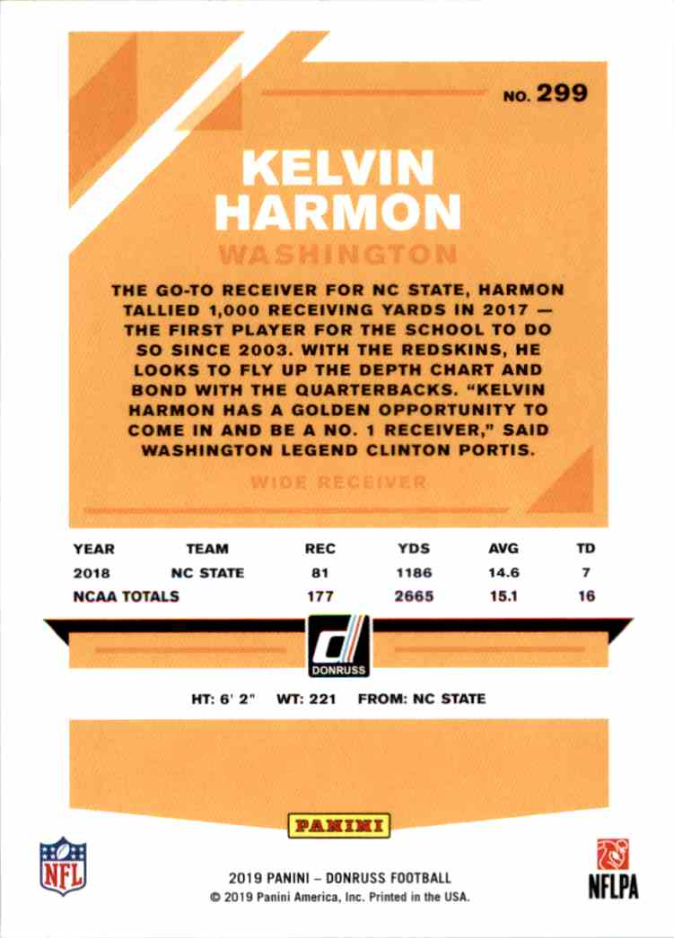 2019 Panini Donruss Kelvin Harmon #299 card back image