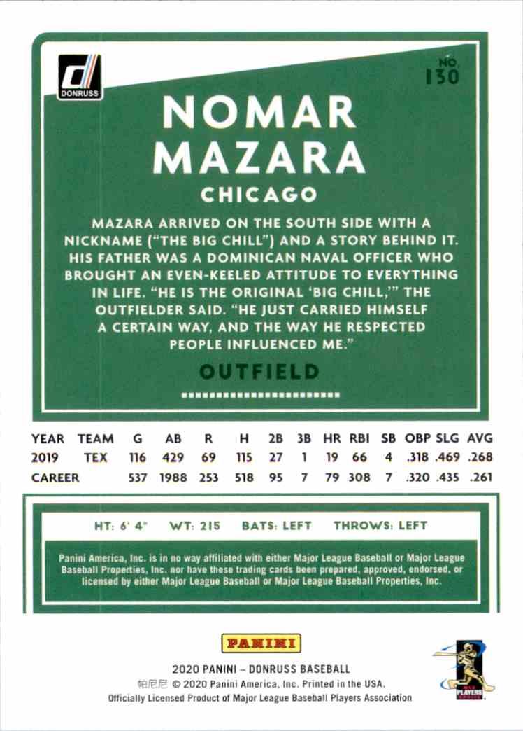 2020 Donruss Nomar Mazara #130 card back image