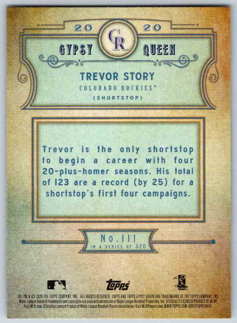 2020 Topps Gypsy Queen Base Trevor Story #111 card back image