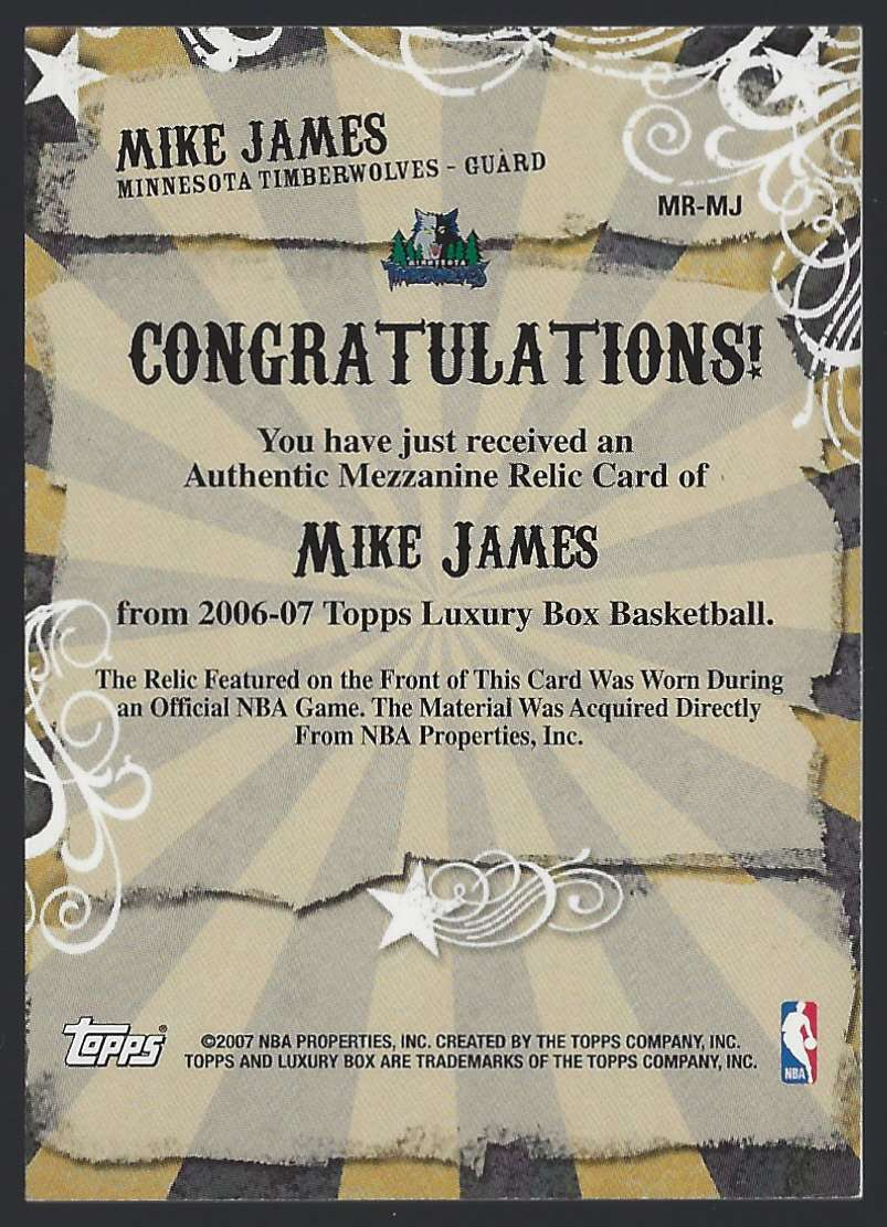 2006-07 Topps Luxury Box Mezzanine Relics Mike James #MRMJ card back image
