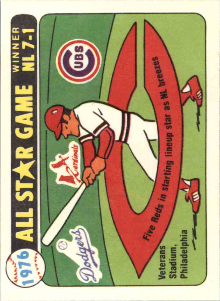 1981 Laughlin/Fleer 1976 All-Star Stickers - Five Reds In Starting Lineup - card front image