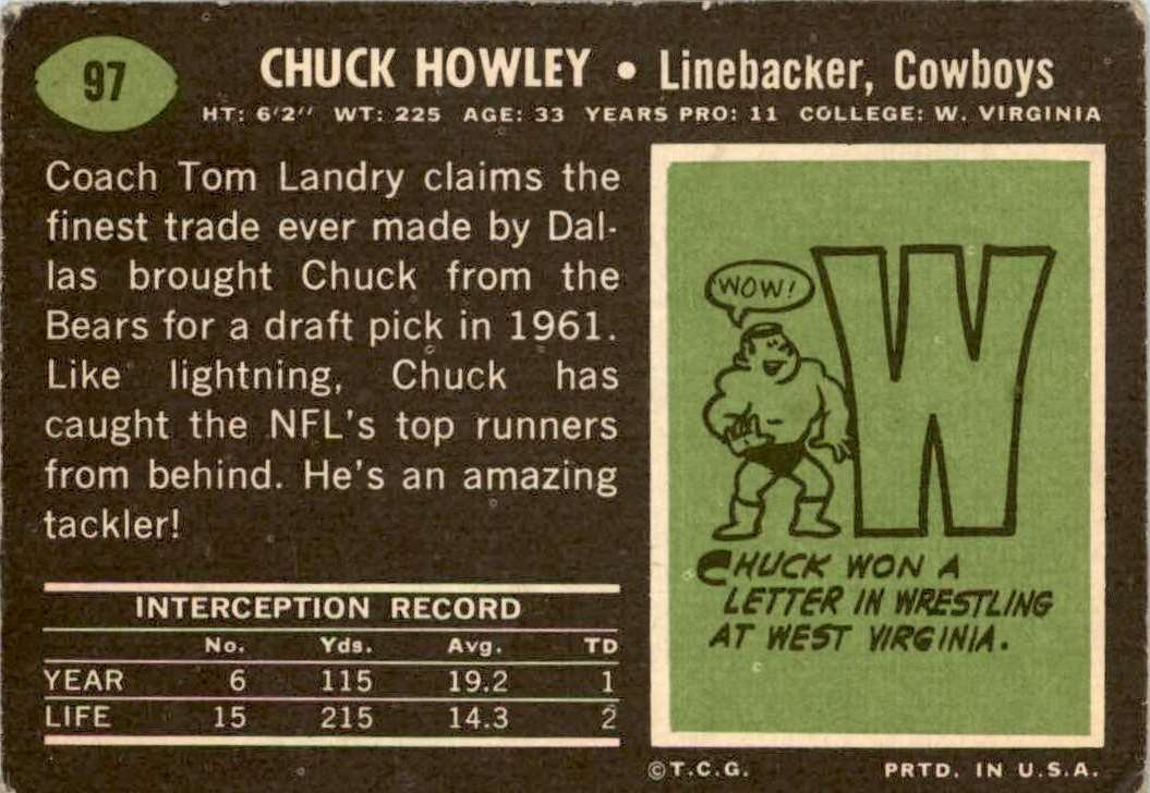1969 Topps Chuck Howley #97 card back image