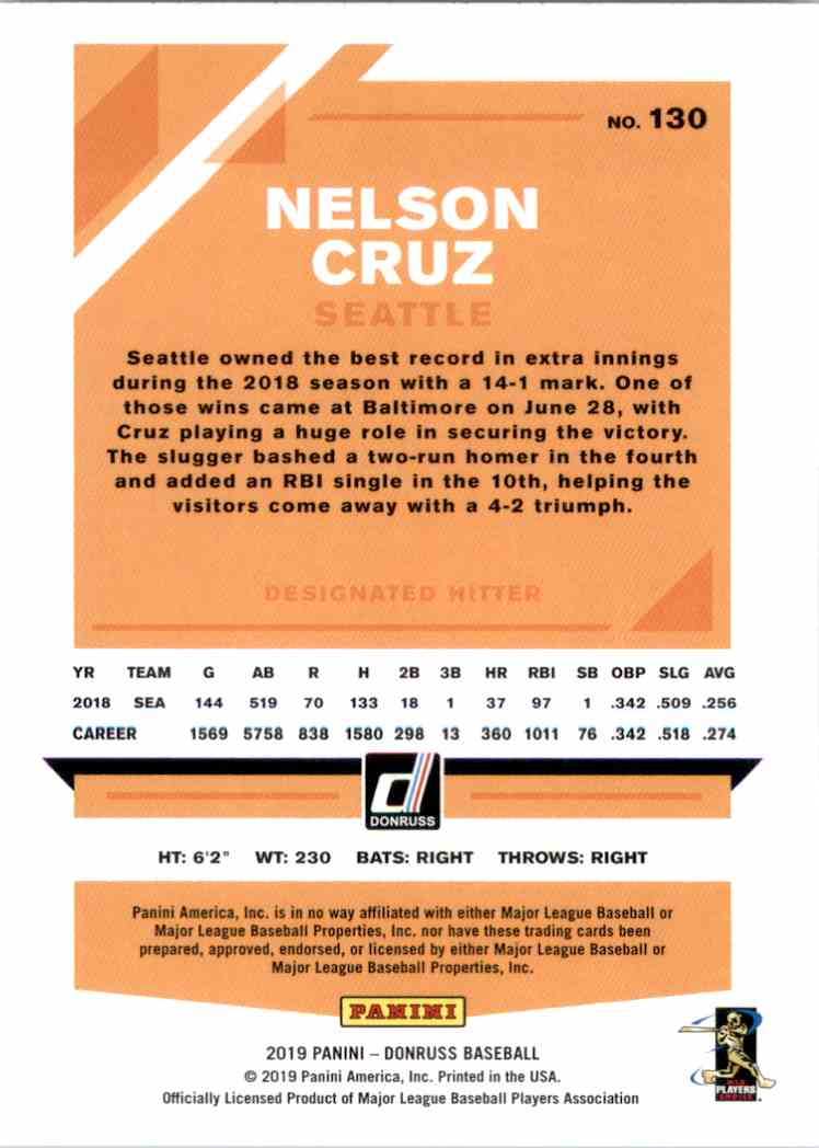 2019 Donruss Nelson Cruz #130 card back image