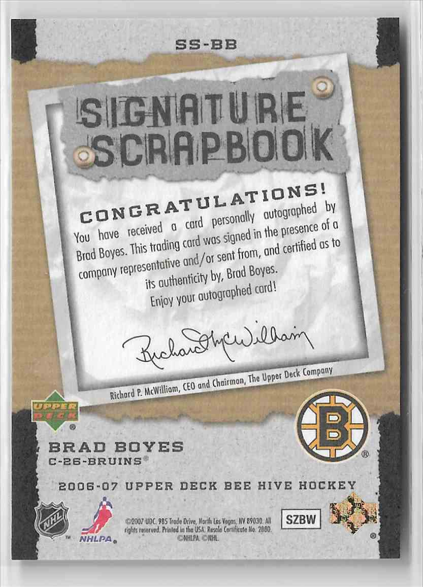 2006-07 Upper Deck Bee Hive Signature Scrapbook Brad Boyes #SS-BB card back image