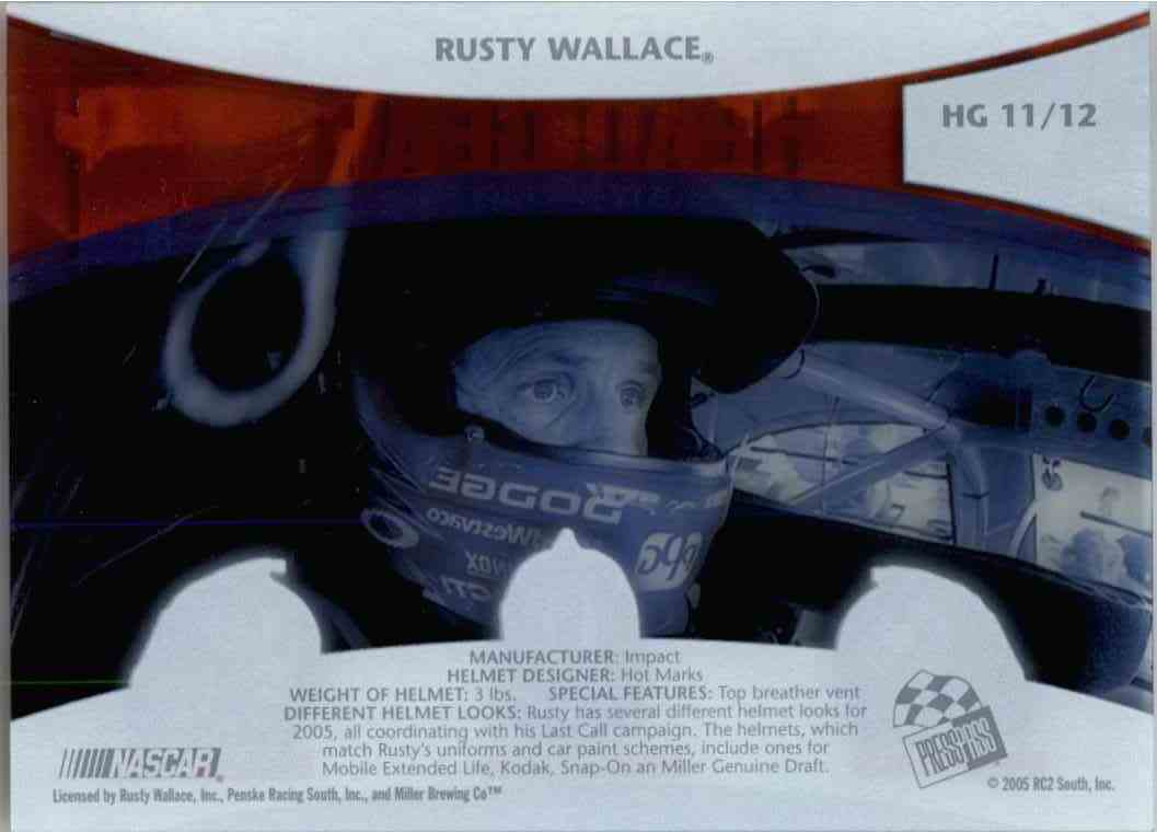 2005 Press Pass Vip Head Gear Rusty Wallace #HG11 card back image