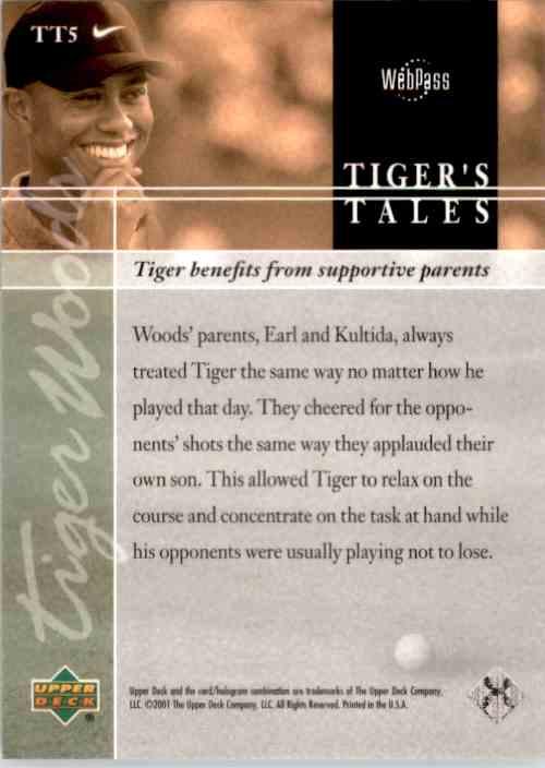 2001 Upper Deck Tiger's Tales Tiger Woods #TT5 card back image