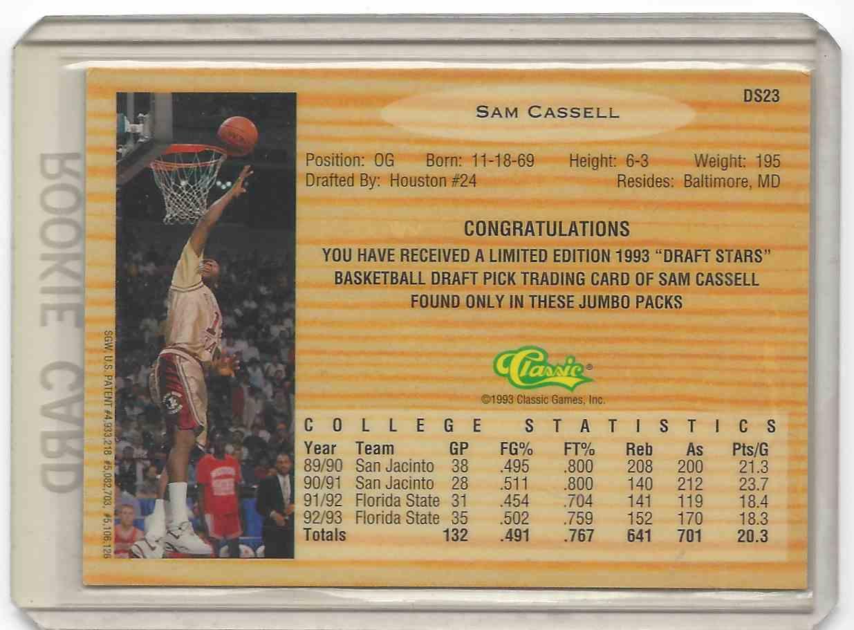 1993-94 Classic Draft Picks Draft Stars Sam Cassell #DS23 on