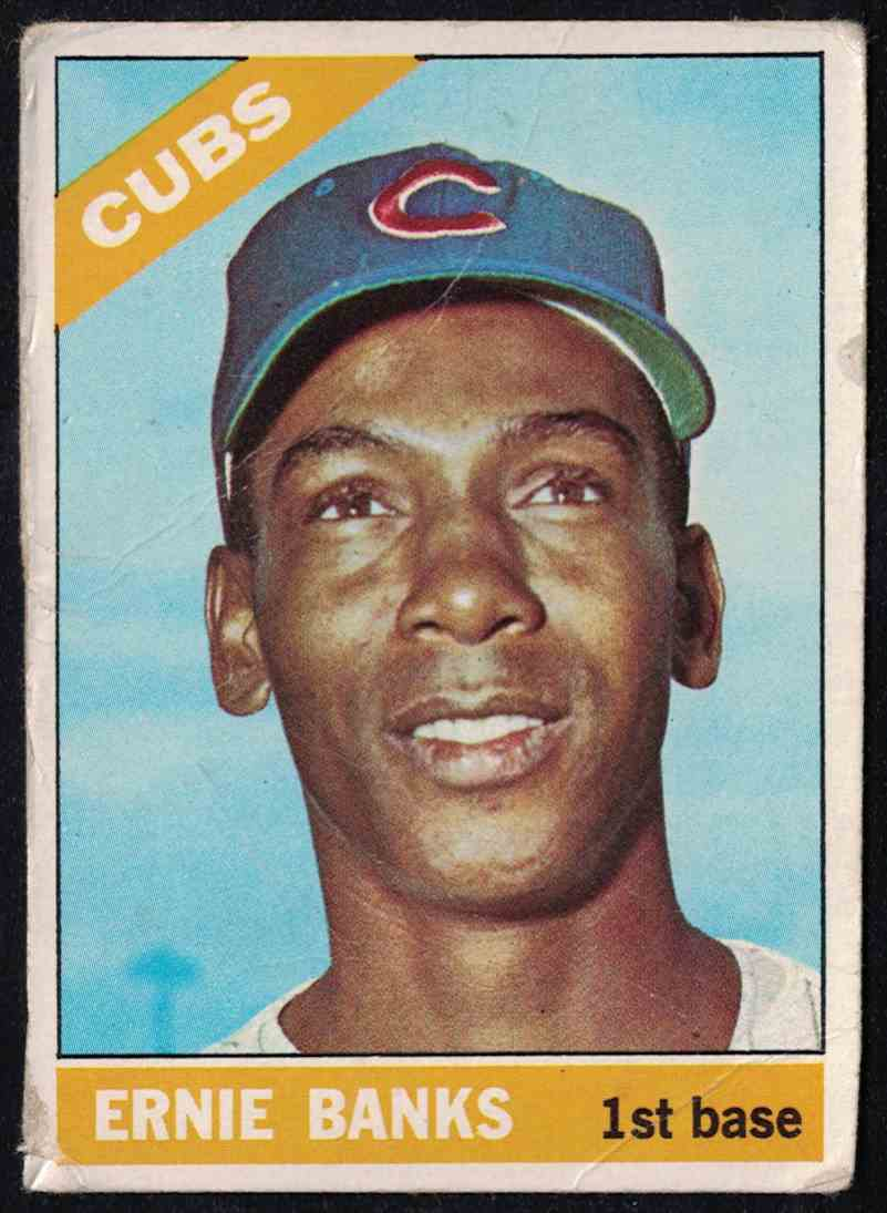 1966 Topps Ernie Banks (Poor-Fair) creases And Bad Corner #110 card front image