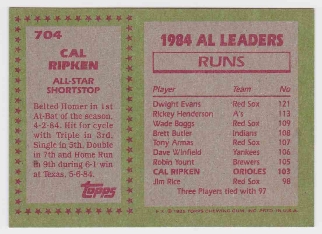 1985 Topps Base Cal Ripken #704 card back image