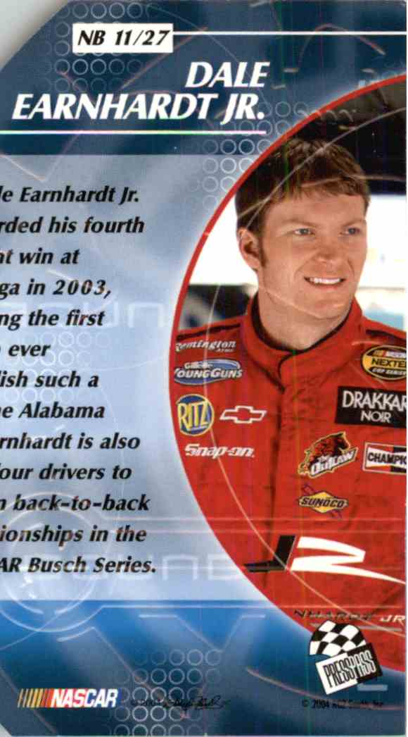 2004 Press Pass Stealth Dale Earnhardt JR. #NB11 card back image
