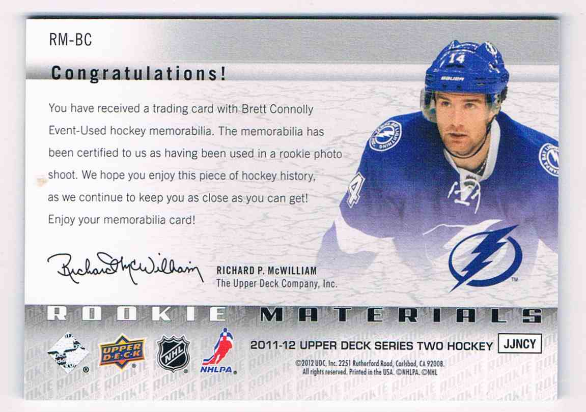 2011-12 Upper Deck UD Rookie Materials Brett Connolly #RM-BC card back image