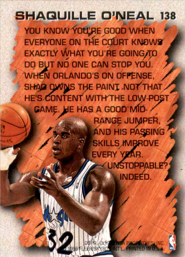 1996-97 Fleer Shaquille O'Neal Hl #138 card back image
