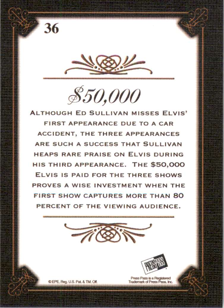 2008 Elvis By The Numbers Canvas $50,000 #36 card back image