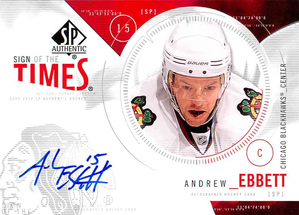 2009-10 Upper Deck SP Authentic Andrew Ebbett #ST-AE card front image