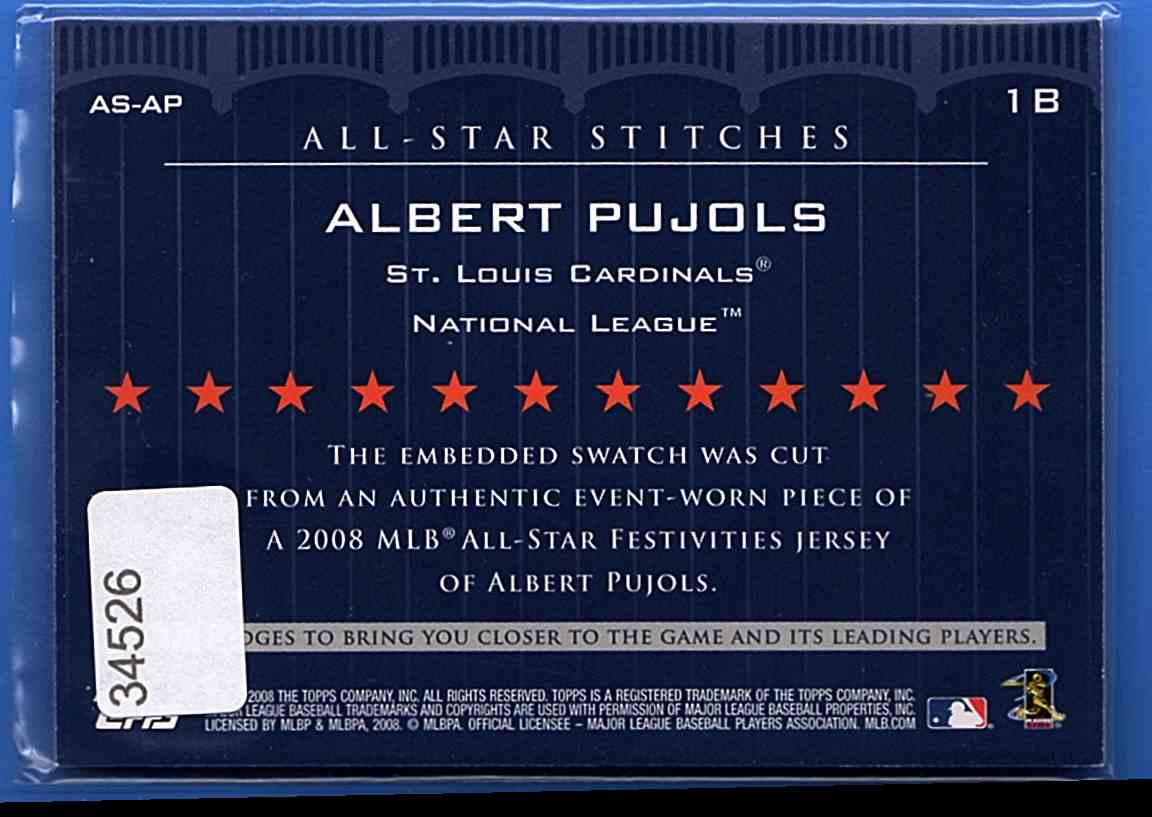 2008 Topps Update All-Star Stitches Albert Pujols #AS-AP card back image
