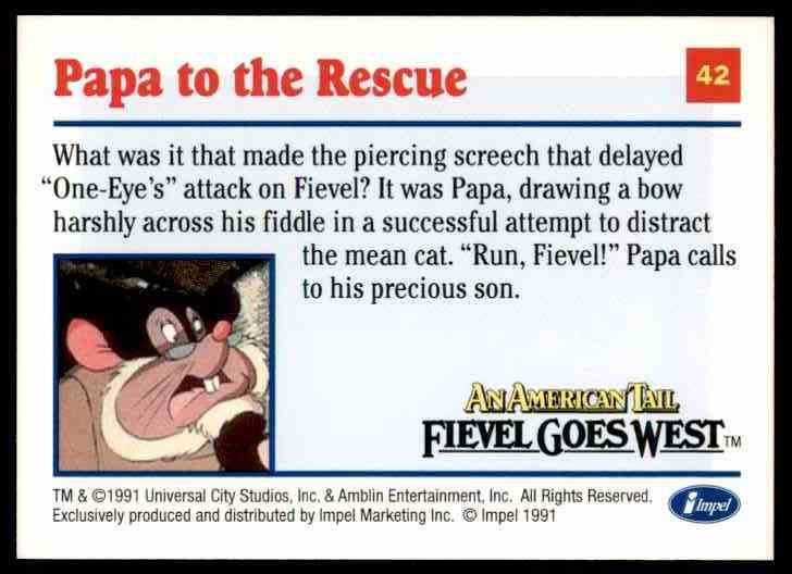 1991 An American Tail Papa To The Rescue #42 card back image