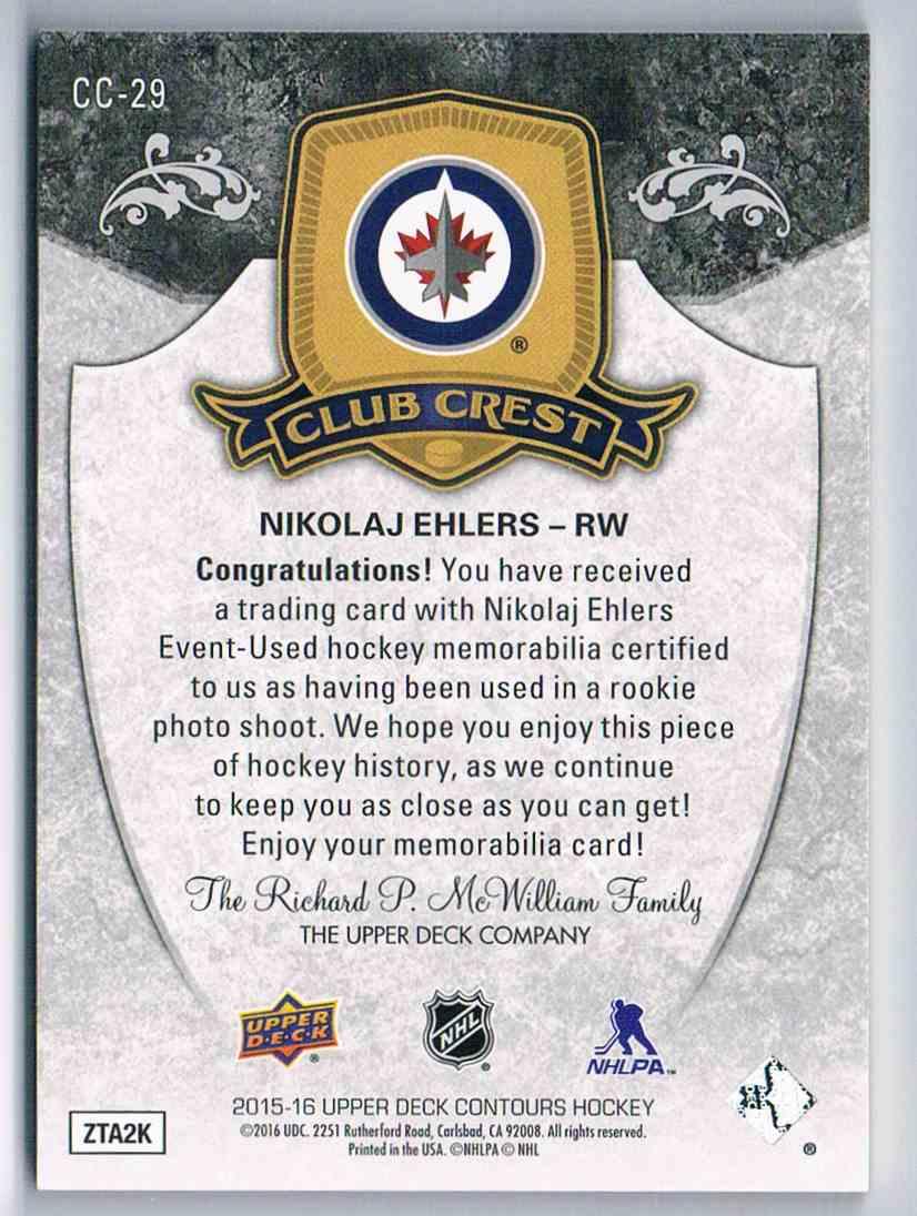 2015-16 Upper Deck Contours Club Crest Nikolaj Ehlers #CC-29 card back image