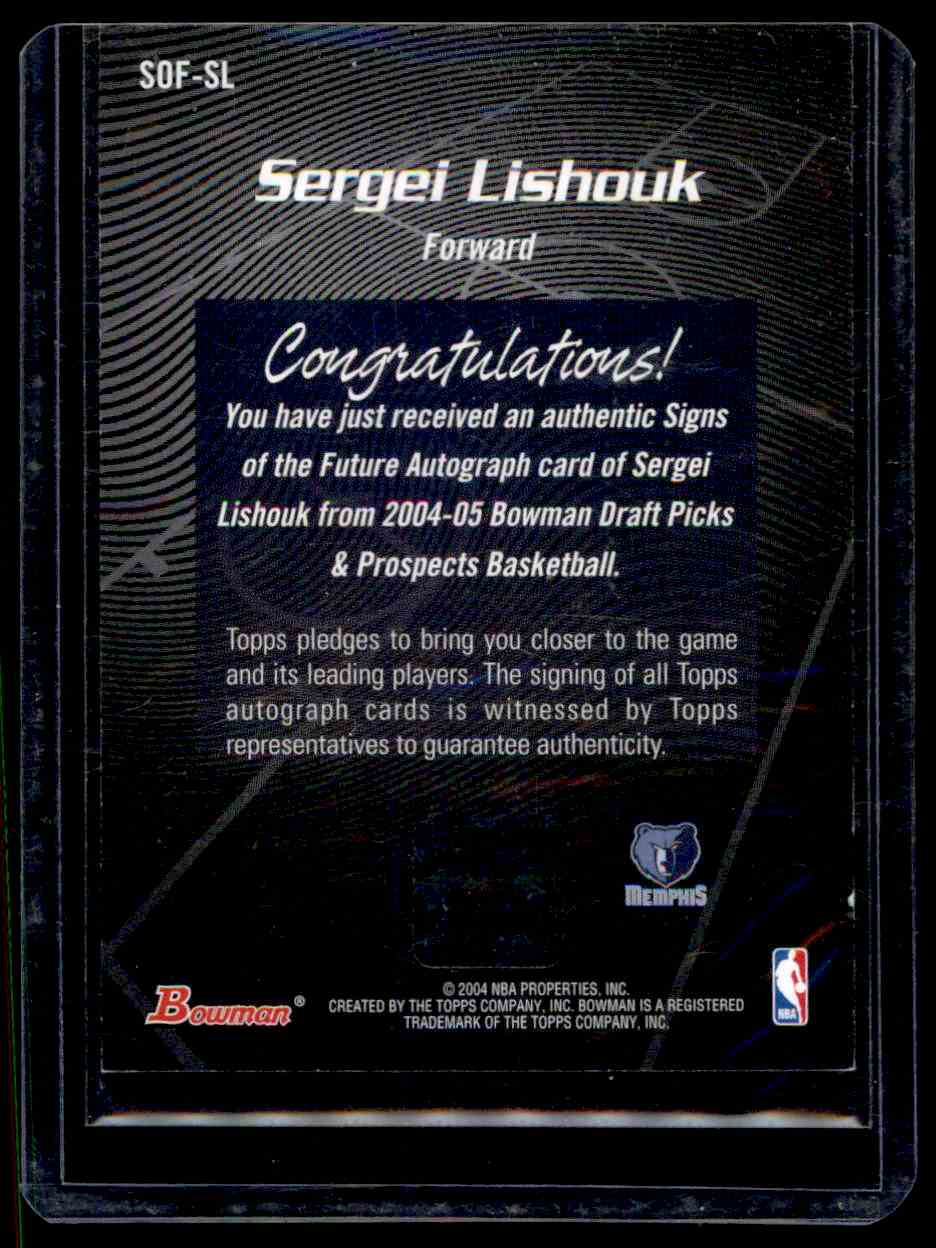 2004-05 Bowman Signs Of The Future Sergei Lishouk #SL card back image