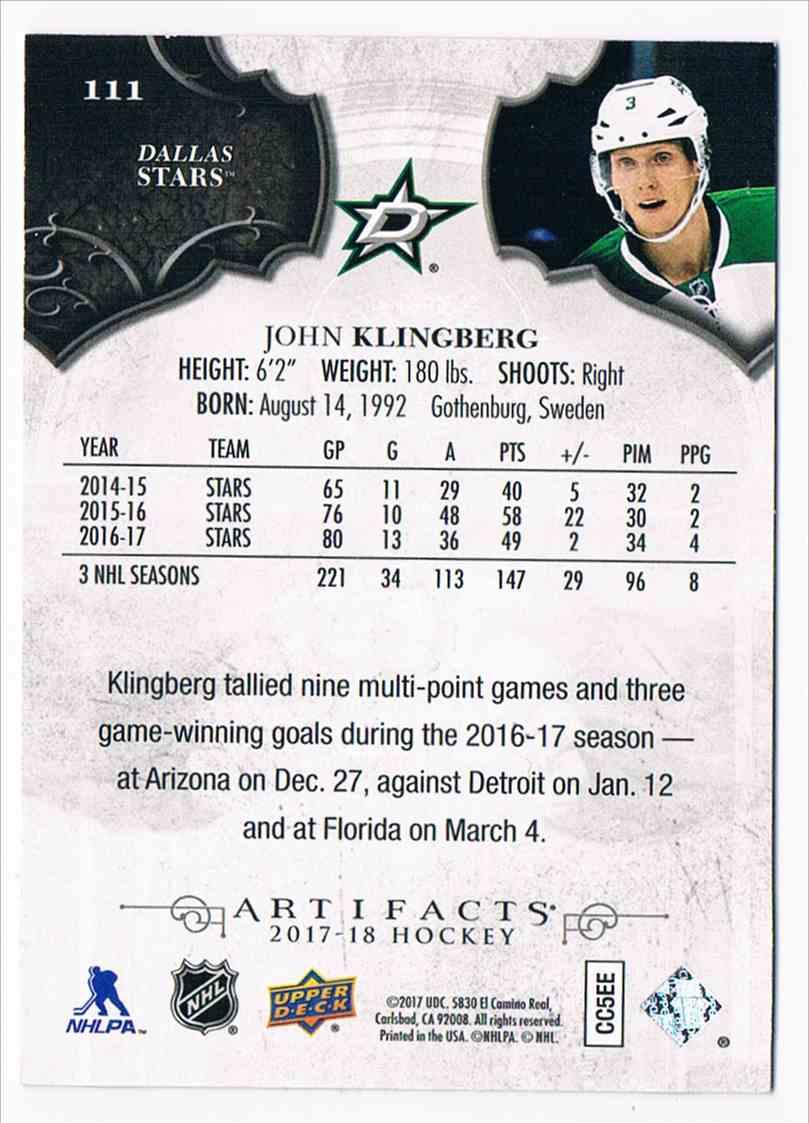 2017-18 Upper Deck Artifacts Emerald John Klingberg #111 card back image