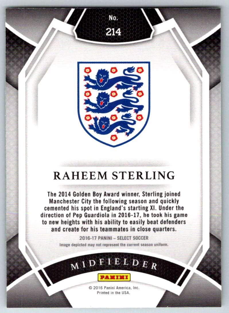 2016 Select Multi Color Prizms Raheem Sterling #214 card back image
