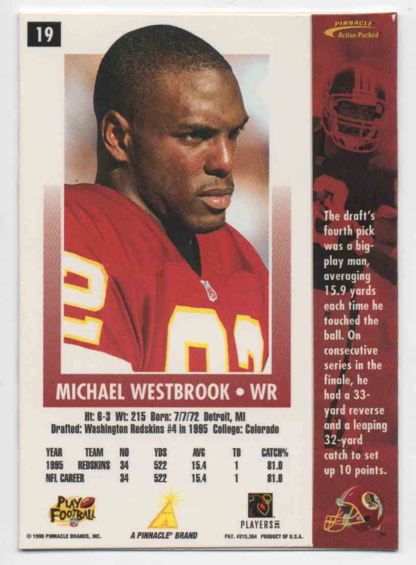 1996 Action Packed Michael Westbrook #19 card back image