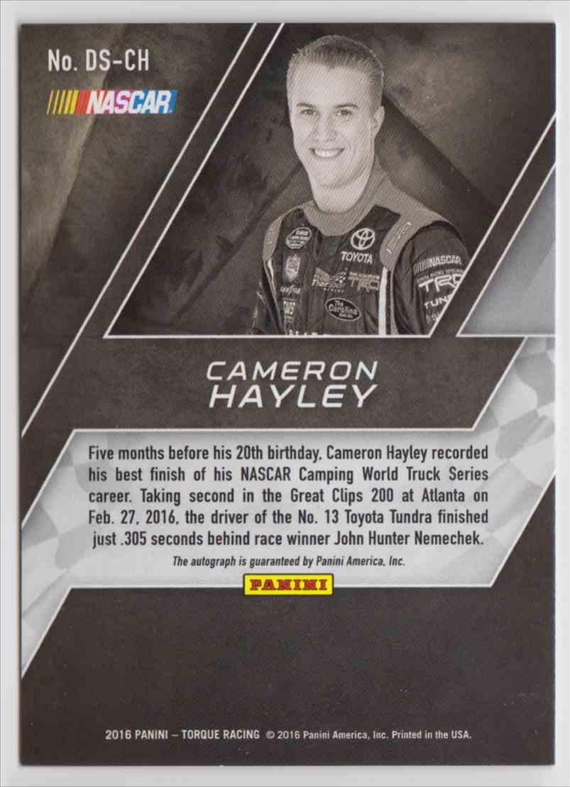 2016 Panini Torque Driver Scripts Cameron Hayley #DS-CH card back image