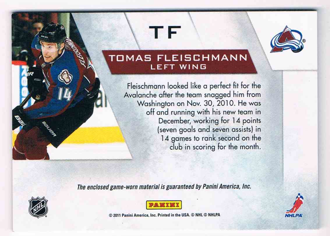 2010-11 Zenith Winter Warriors Tomas Fleischmann #TF card back image
