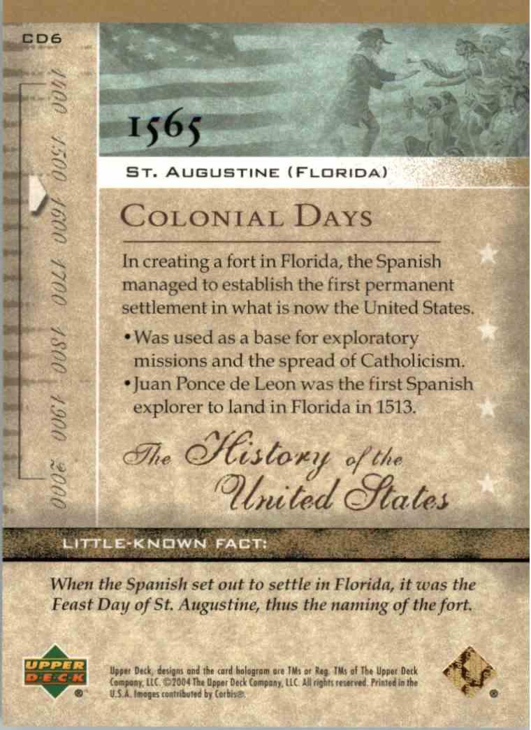 2004 Upper Deck History Of The United States St. Augustine, Florida #CD6 card back image