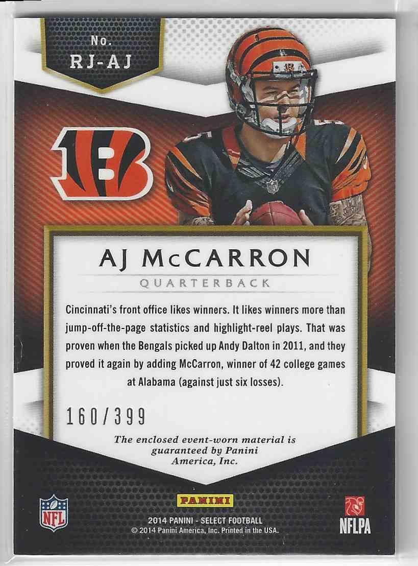 new arrival 01829 c53e8 2014 Select Rookies RC Jersey Aj McCarron 160/399!! Bengals ...