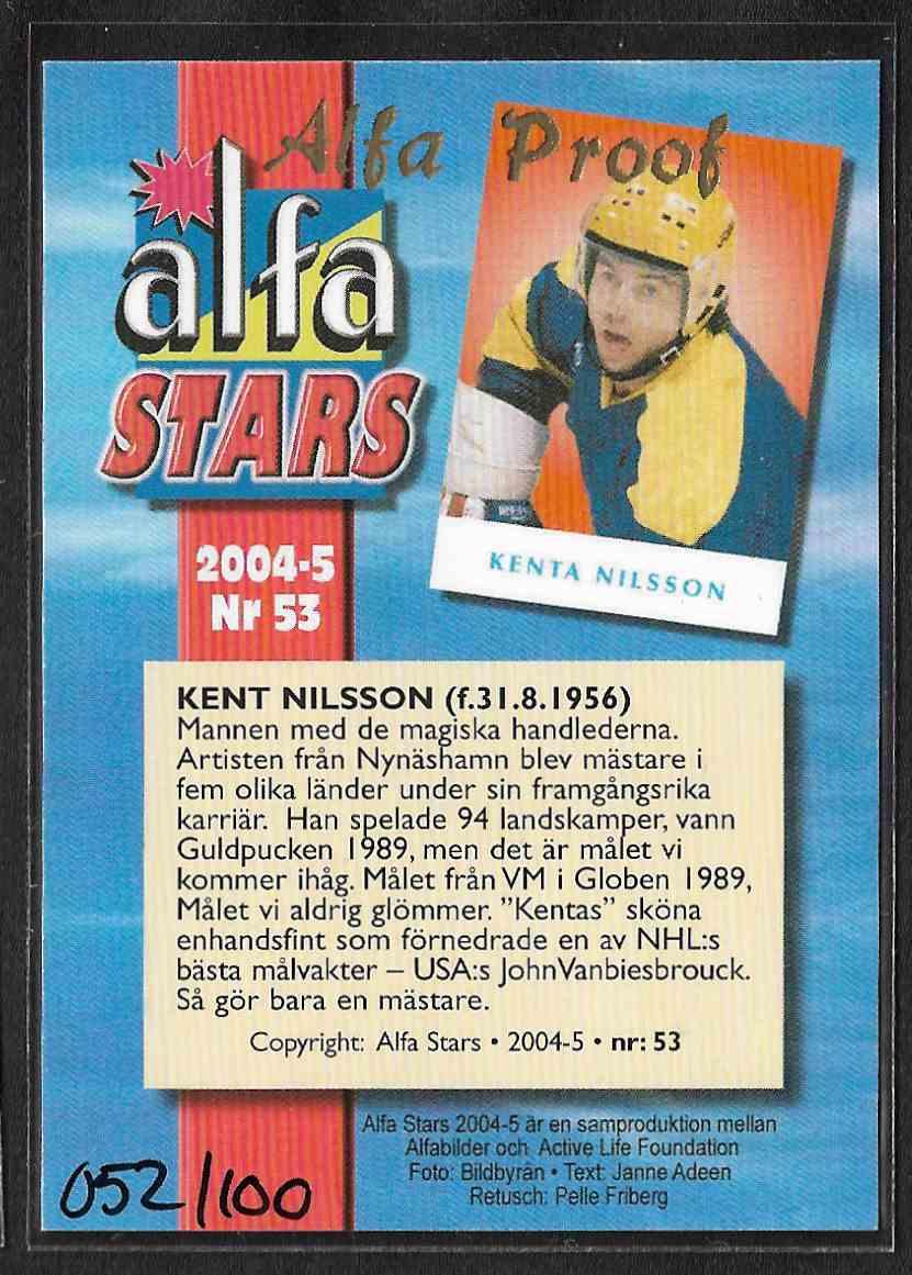 2004-05 Alfabilder Alfa Stars Alfa Proof Kent Nilsson #53 card back image