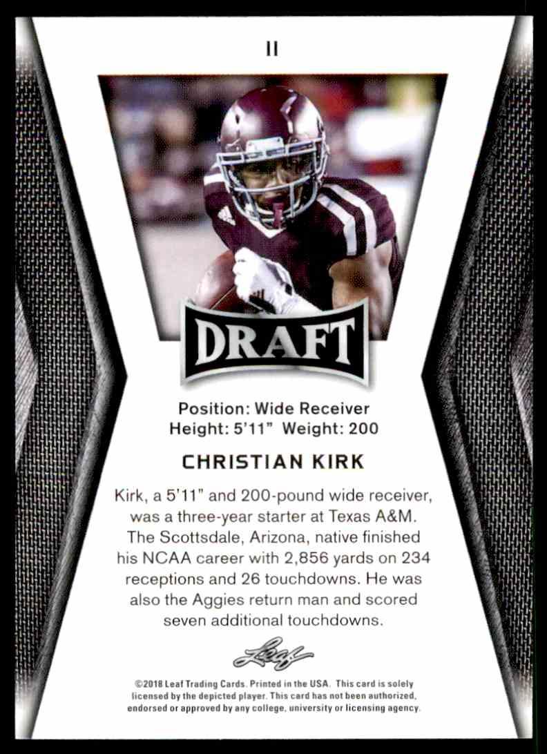 2018 Leaf Draft Christian Kirk #11 card back image