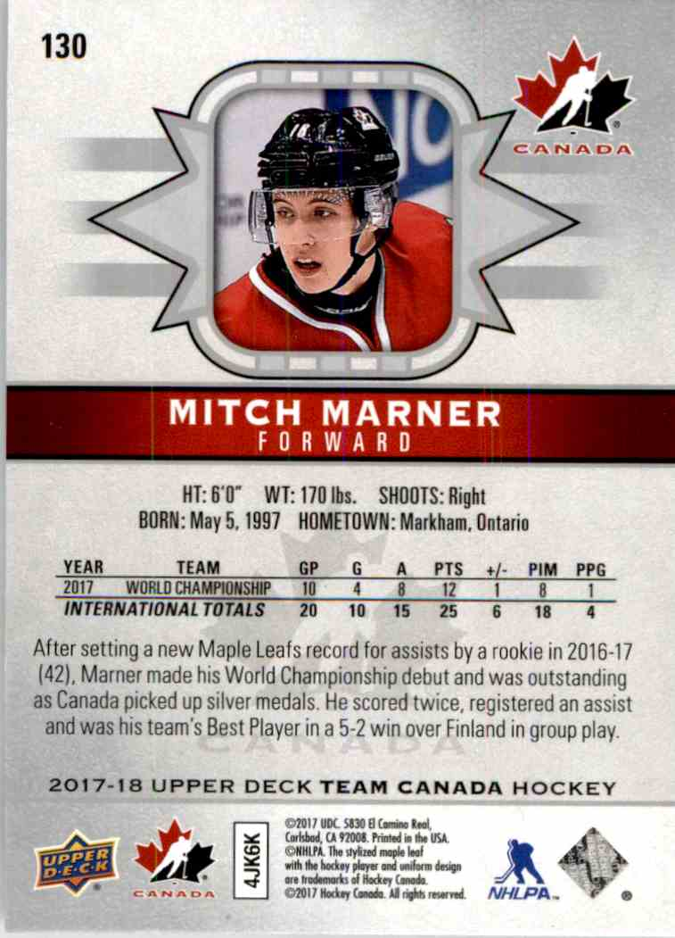 2017-18 Upper Deck Team Canada Short Print Mitch Marner #130 card back image