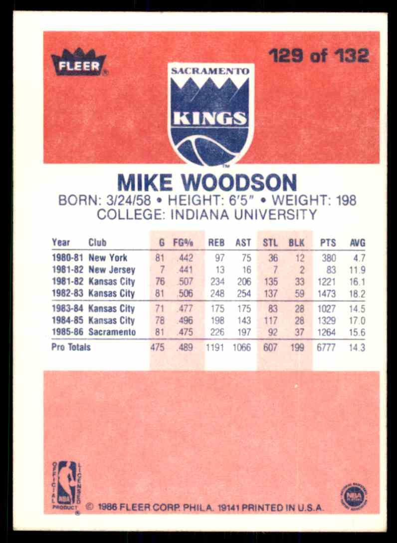 1986-87 Fleer Mike Woodson #129 OF 132 card back image