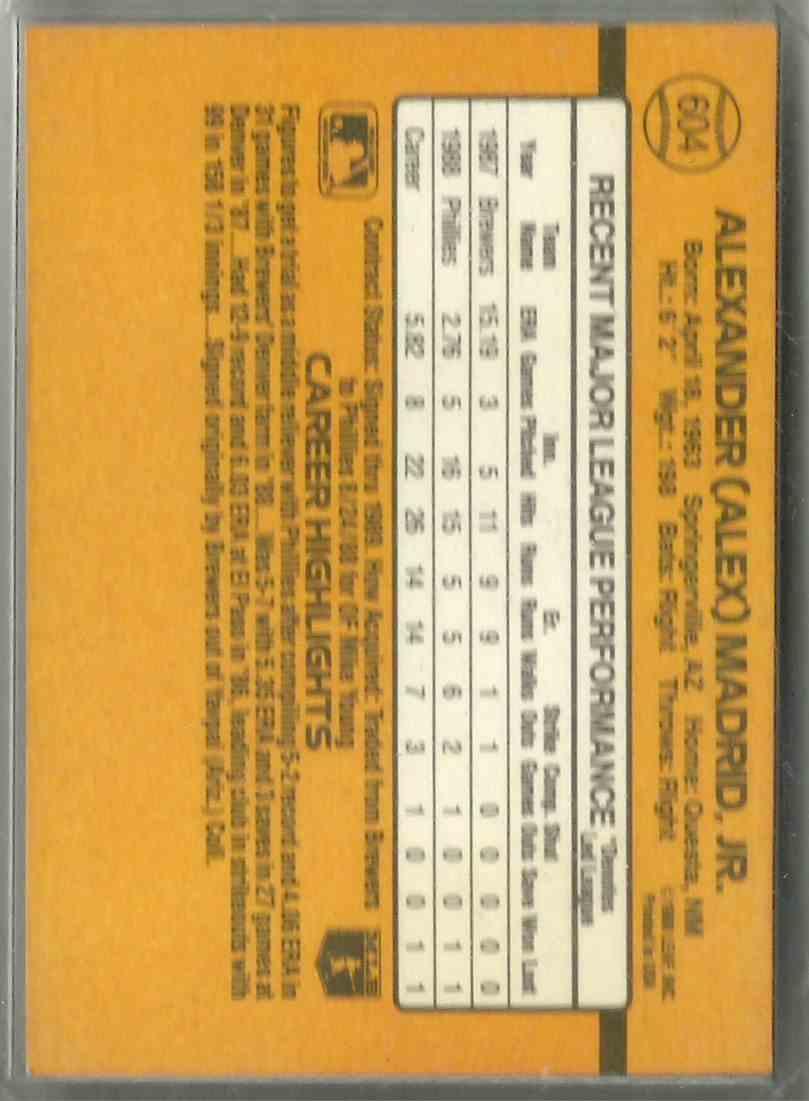 1989 Donruss Alex Madrid #604 card back image